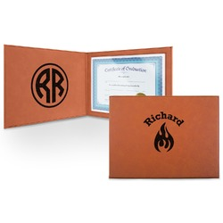 Fire Leatherette Certificate Holder (Personalized)