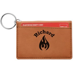 Fire Leatherette Keychain ID Holder (Personalized)
