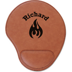 Fire Leatherette Mouse Pad with Wrist Support (Personalized)