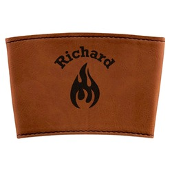 Fire Leatherette Cup Sleeve (Personalized)