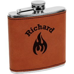 Fire Leatherette Wrapped Stainless Steel Flask (Personalized)