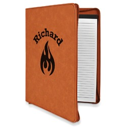 Fire Leatherette Zipper Portfolio with Notepad (Personalized)
