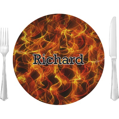 """Fire 10"""" Glass Lunch / Dinner Plates - Single or Set (Personalized)"""