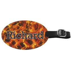 Fire Genuine Leather Oval Luggage Tag (Personalized)