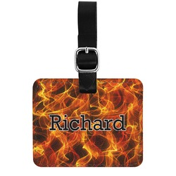 Fire Genuine Leather Rectangular  Luggage Tag (Personalized)