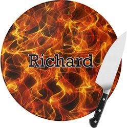 Fire Round Glass Cutting Board (Personalized)