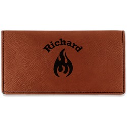 Fire Leatherette Checkbook Holder (Personalized)