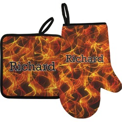 Fire Oven Mitt & Pot Holder (Personalized)