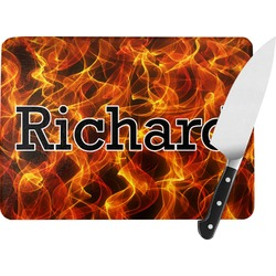 Fire Rectangular Glass Cutting Board (Personalized)