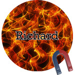 Fire Round Fridge Magnet (Personalized)