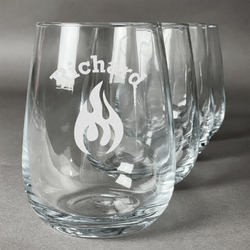 Fire Wine Glasses (Stemless Set of 4) (Personalized)