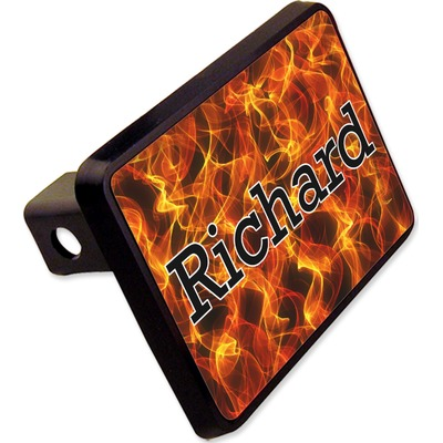 """Fire Rectangular Trailer Hitch Cover - 2"""" (Personalized)"""