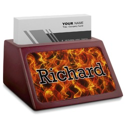 Fire Red Mahogany Business Card Holder (Personalized)