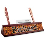 Fire Red Mahogany Nameplate with Business Card Holder (Personalized)