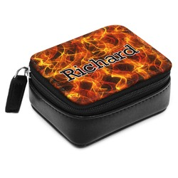 Fire Small Leatherette Travel Pill Case (Personalized)