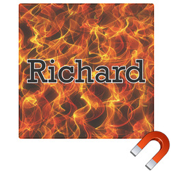 """Fire Square Car Magnet - 6"""" (Personalized)"""