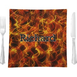 """Fire Glass Square Lunch / Dinner Plate 9.5"""" - Single or Set of 4 (Personalized)"""