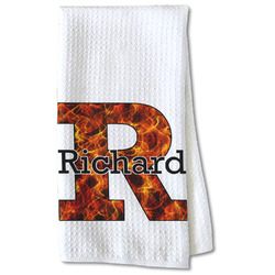 Fire Waffle Weave Kitchen Towel - Partial Print (Personalized)