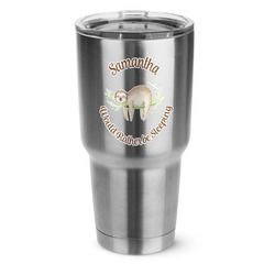 Sloth 30 oz Silver Stainless Steel Tumbler w/Full Color Graphics (Personalized)
