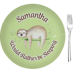 "Sloth Glass Appetizer / Dessert Plates 8"" - Single or Set (Personalized)"