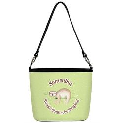 Sloth Bucket Bag w/ Genuine Leather Trim (Personalized)