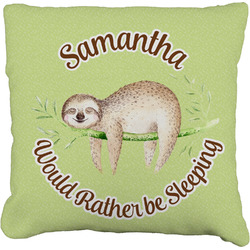 """Sloth Faux-Linen Throw Pillow 16"""" (Personalized)"""