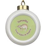 Sloth Ceramic Ball Ornament (Personalized)