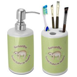 Sloth Bathroom Accessories Set (Ceramic) (Personalized)