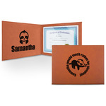 Sloth Leatherette Certificate Holder (Personalized)