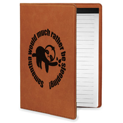 Sloth Leatherette Portfolio with Notepad - Small - Single Sided (Personalized)