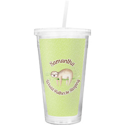 Sloth Double Wall Tumbler with Straw (Personalized)