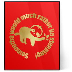 Sloth 8x10 Foil Wall Art - Red (Personalized)
