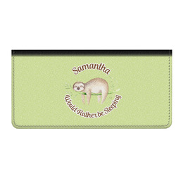 Sloth Genuine Leather Checkbook Cover (Personalized)