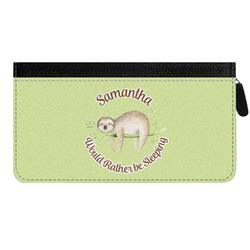 Sloth Genuine Leather Ladies Zippered Wallet (Personalized)