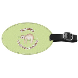 Sloth Genuine Leather Oval Luggage Tag (Personalized)