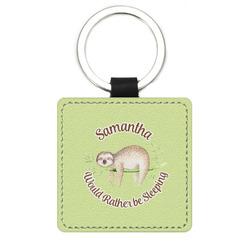 Sloth Genuine Leather Rectangular Keychain (Personalized)