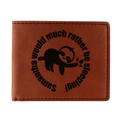 Sloth Leatherette Bifold Wallet (Personalized)