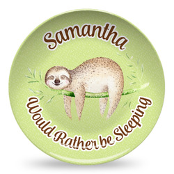 Sloth Microwave Safe Plastic Plate - Composite Polymer (Personalized)