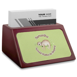 Sloth Red Mahogany Business Card Holder (Personalized)