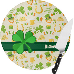 St. Patrick's Day Round Glass Cutting Board - Small (Personalized)