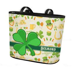 St. Patrick's Day Bucket Tote w/ Genuine Leather Trim (Personalized)