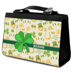 St. Patrick's Day Classic Tote Purse w/ Leather Trim w/ Name or Text