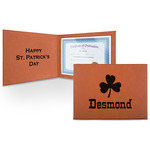St. Patrick's Day Leatherette Certificate Holder (Personalized)