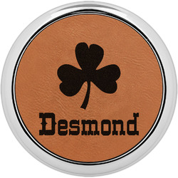St. Patrick's Day Leatherette Round Coaster w/ Silver Edge - Single or Set (Personalized)