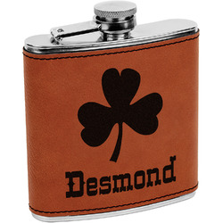 St. Patrick's Day Leatherette Wrapped Stainless Steel Flask (Personalized)
