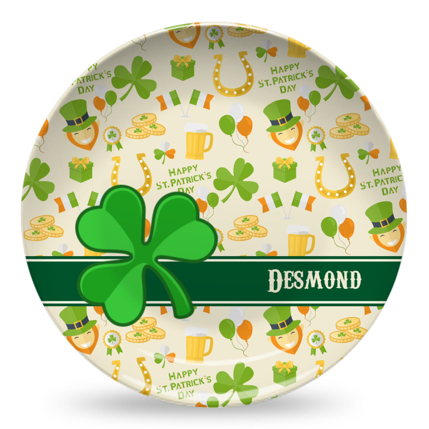 st patrick 39 s day microwave safe plastic plate composite polymer personalized youcustomizeit. Black Bedroom Furniture Sets. Home Design Ideas