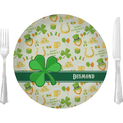 """St. Patrick's Day 10"""" Glass Lunch / Dinner Plates - Single or Set (Personalized)"""