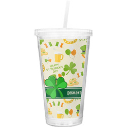 St. Patrick's Day Double Wall Tumbler with Straw (Personalized)