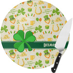 St. Patrick's Day Round Glass Cutting Board (Personalized)