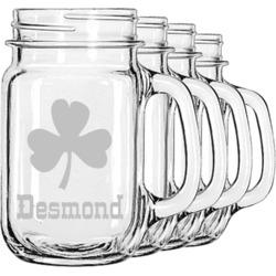 St. Patrick's Day Mason Jar Mugs (Set of 4) (Personalized)
